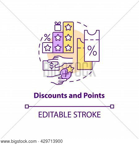 Discounts And Points Concept Icon. Reward System For Customers Abstract Idea Thin Line Illustration.
