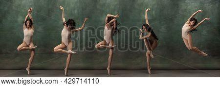 Young Graceful Tender Ballerina On Dark Green Studio Background. Composite Image Of Photos Of Flexib