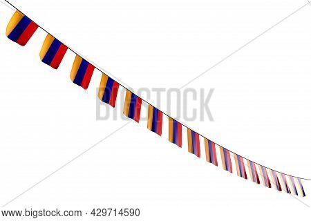 Beautiful Any Holiday Flag 3d Illustration  - Many Armenia Flags Or Banners Hangs Diagonal On Rope I