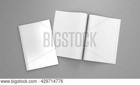 Open Magazine Mockup. Blank Magazine Template For Copy Space. Empty Space In Cover. Grey Background.