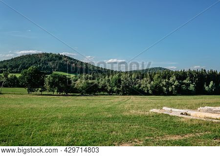 Idyllic Hilly Landscape.natural Summer Scenic Countryside.beautiful View Of Green Meadows And Forest