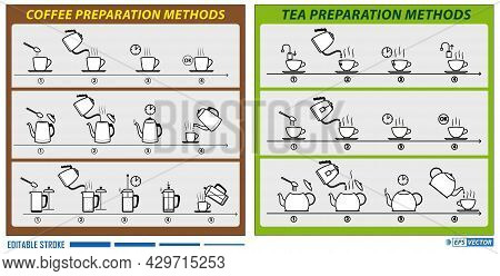 Set Of Brewing Tea And Coffee Instruction Flat Style Or Tea And Coffee Preparing Hot Beverage Or Mak