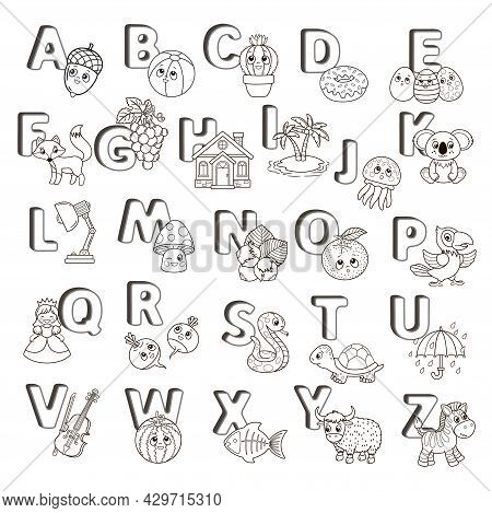 Vector Coloring Book Alphabet With Capital Letters Of The English And Cute Cartoon Animals And Thing