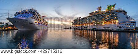 Nassau, Bahamas - June 22, 2019: Beautiful Panoramic Shot Of Carnival Liberty, Mariner Of The Seas C