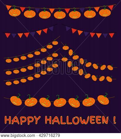 Halloween Holiday Garlands. Festive Bunting Set With Fun And Angry Carved Pumpkins And Flags.