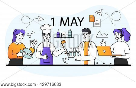 Young Male And Female Of Different Professions Standing Together. Businessman, Chef, Scientist, Tail