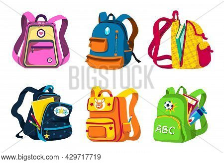 School And Preschool Backpacks For Children, Various Colors, Angles (front, Side View), Open And Clo