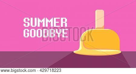 Vector Goodbye Summer Vintage Concept Horizontal Illustration With Orange Melt Ice Creamon On Pink B