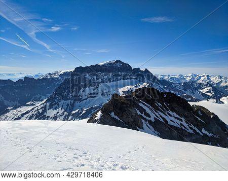 Ski Tour On The Clariden Mountain, Ski Mountaineering With A Big Panorama Mountains. View Of The Toe