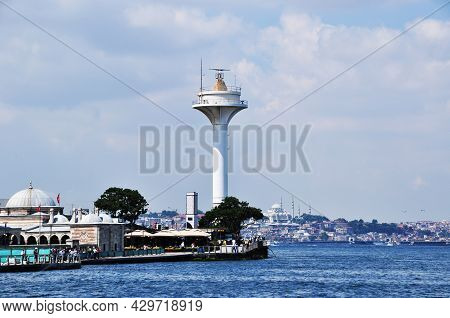Panoramic View Of The Strait And Lighthouse On The Shores Of Istanbul. 09 July 2021, Istanbul, Turke