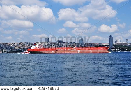 Panoramic View Of The Bosphorus. A Large Ocean Ship Is Sailing Along The Strait. 09 July 2021, Istan