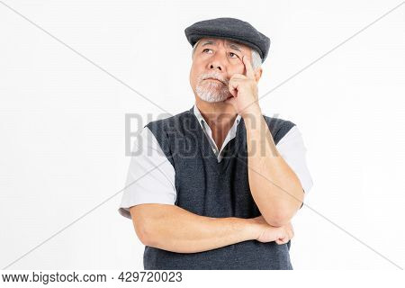 Portrait Asian Senior Man , Old Man , Serious Face Thinking About Something Isolated On White Backgr