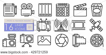 Photo And Tv Industry. Equipment For Professional Photography And Filming. Television, Camcorder, Ca