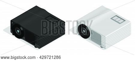 Isometric Cinema Projector For Projecting Film And Image Onto Wide Screen. Equipment For Home Multim