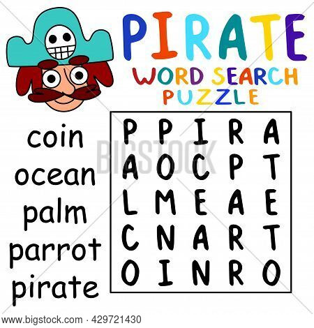 Little Word Search Puzzle With A Pirate For Kids Vector Illustration. Help The Captain To Find All H