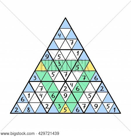 Unusual Triangular Sudoku Game For Kids And Adults Vector Illustration. Place 1-9 Numbers In Each Bi