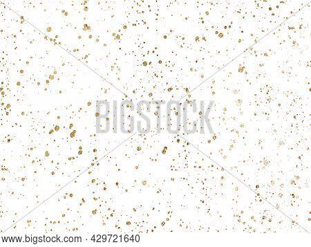 Ink Golden Blots Grunge Urban Background. Vector Dust Overlay Distress Grain. Gold Paint Splatter ,