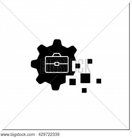 Business Transformation Glyph Icon.fundamental Changes In Business Sphere. Digital Technology Integr