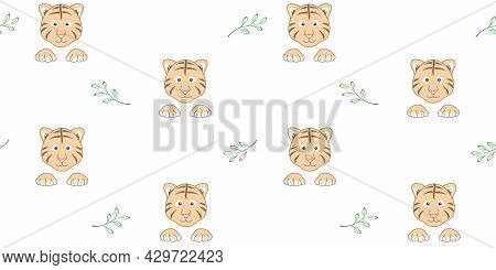 Endless Texture With Cute Tiger Cub Face, Paws And Twigs With Leaves On A White Background. Vector S