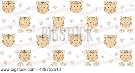 Endless Texture With Cute Tiger Cub Face, Paws And Small Hearts On A White Background With Waves. Ve