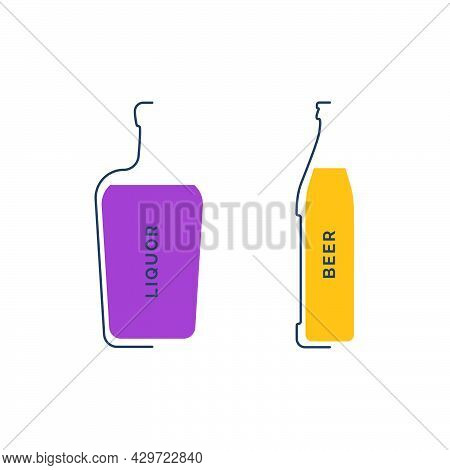 Bottle Liquor And Beer In Linear Style On White Background. Black Thin Outline In The Form Of A Cont
