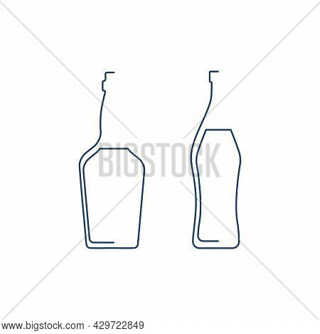 Bottle Continuous Line Whiskey And Vermouth In Linear Style On White Background. Solid Black Thin Ou