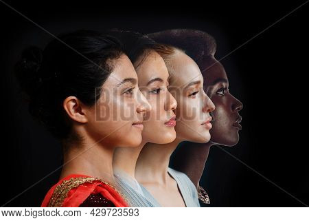 Caucasian Woman, African American Woman And Indian Women Portrait. Nation Equality. Multiple Differe