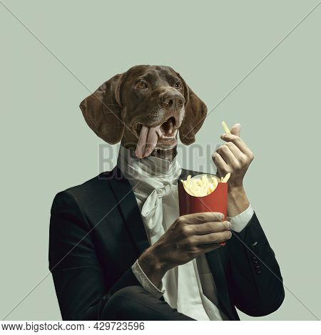 Model Like Medieval Royalty Person In Vintage Clothing Headed Of Dogs Head. Concept Of Comparison Of
