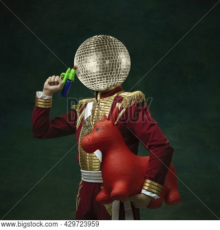 Contemporary Art Collage. Male Model Like Medieval Royalty Person In Vintage Clothing. Concept Of Co