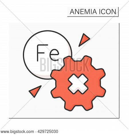 Anemia Color Icon. Disease Symptoms.inability To Absorb Iron. Health Protection Concept. Isolated Ve