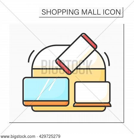 Electronics Store Color Icon. Shop With Different Electronics Goods. Sells Tv Monitors, Laptops , Ce