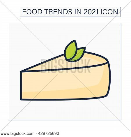 Cheesecake Color Icon. Tender Cream-cheese Dessert. Delicious Dessert. Food Trends Concept. Isolated