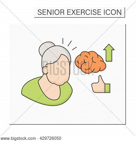 Healthy Lifestyle Color Icon. Improve Brain Function. Boost Memory And Learning Skills. Senior Exerc
