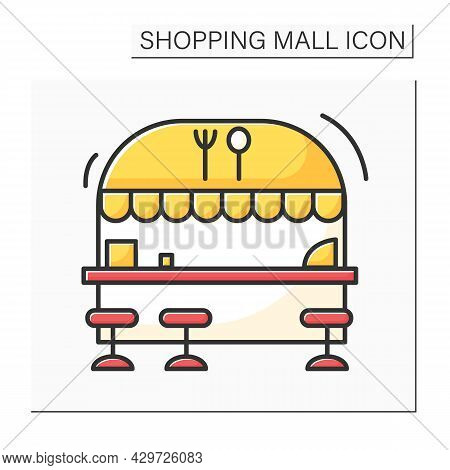 Food Court Color Icon. Food Area With Fast-food Outlets Located. Mini-restaurant Inside The Mall. Sh