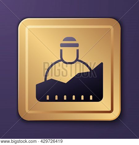 Purple Growth Of Homeless Icon Isolated On Purple Background. Homelessness Problem. Gold Square Butt