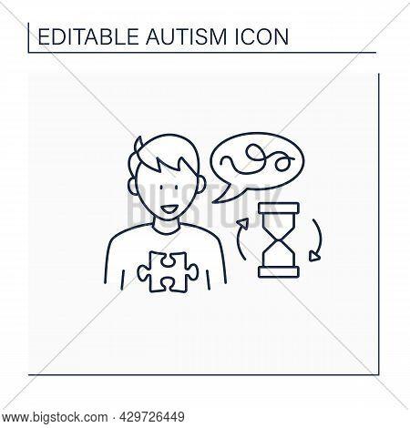 Neurodevelopmental Disorder Line Icon. Delay In Learning To Speak.start Talking Late. Autism Spectru