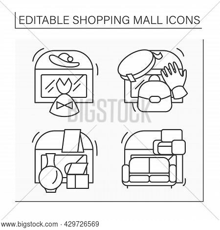 Shopping Mall Line Icons Set. Fashion Boutique, Leather Accessories, Furniture Store, Home Decor. Ma