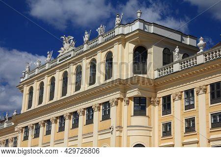 Vienna, Austria - September 6, 2011: Architecture Of Schoenbrunn Palace In Vienna. Palace And Garden