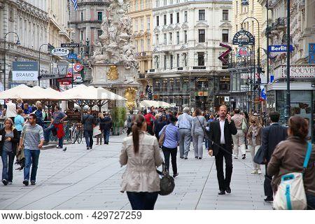 Vienna, Austria - September 9, 2011: People Visit Graben Street In Old Town Of Vienna, Austria. Hist