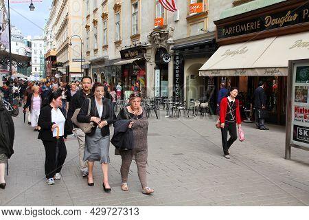 Vienna, Austria - September 9, 2011: People Visit Kohlmarkt Street In Old Town Of Vienna, Austria. H