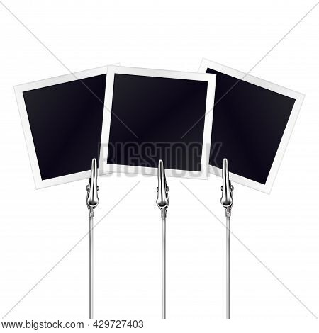 Three Photo Frames On A Metal Memo Holders Clips. Photos, Memories Card On Wire Silver Clamps Over W