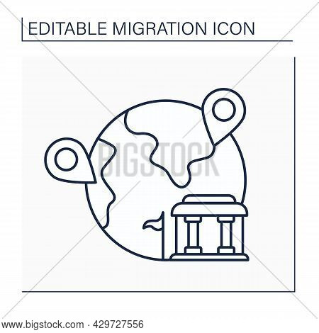 Assisted Migration Line Icon. Managed Relocation. Moving To Another Residence Place. Migration Conce