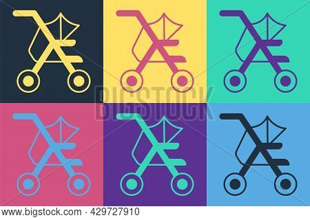 Pop Art Baby Stroller Icon Isolated On Color Background. Baby Carriage, Buggy, Pram, Stroller, Wheel