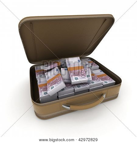 A briefcase full of cash in five hundred euro  bills