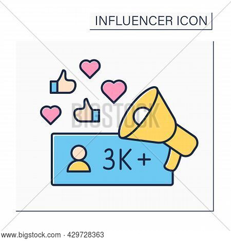 Influencer Color Icon. Micro Influencer. Blogger With Three Thousand Plus Subscribers. Low Influence