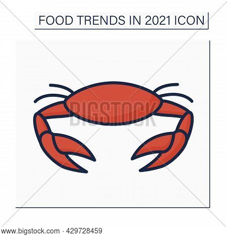 Crab Color Icon. Seafood Boils. Asian Traditional Season Dish. Food Trends Concept. Isolated Vector