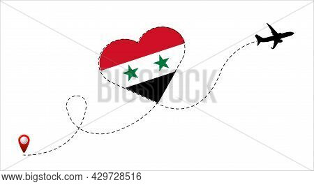 Airplane Flight Route With Syrian Arab Republic Flag Inside The Heart. Travel To Your Favorite Count