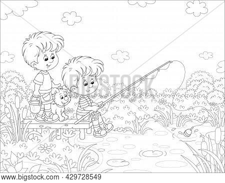 Cheerful Little Boys Fishing On A Small Pond In Pretty Countryside, Together With Their Merry Pup, O