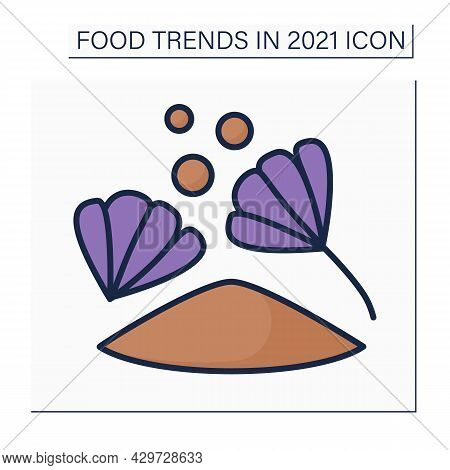 Chicory Drink Color Icon. Therapeutic Caffeine-free Hot Drink. Dried Chicory Flowers Instead Of Coff