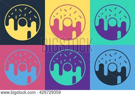 Pop Art Donut With Sweet Glaze Icon Isolated On Color Background. Vector